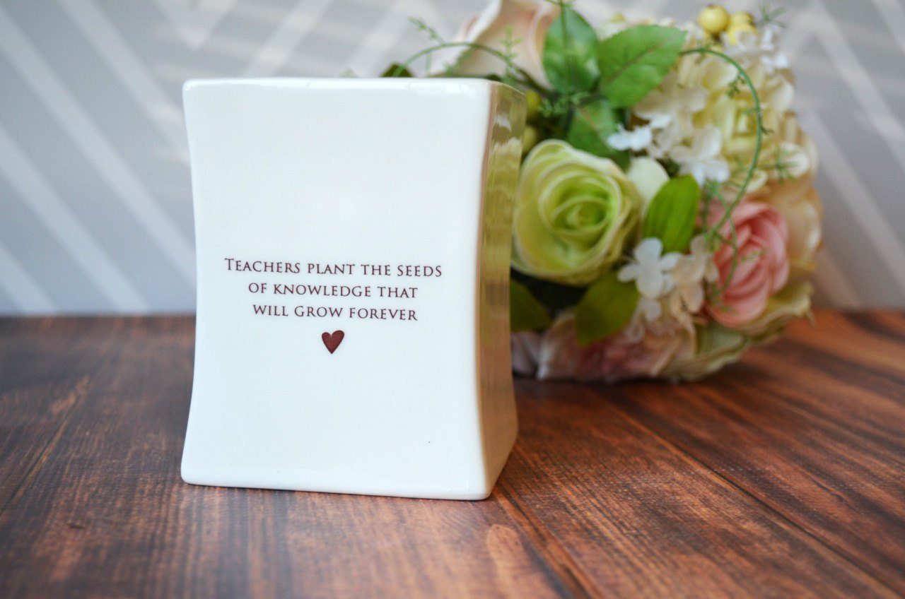 Unique Teacher Gift - SHIPS FAST - Teachers plant the seeds of knowledge that will grow forever. - Square Vase - With gift box