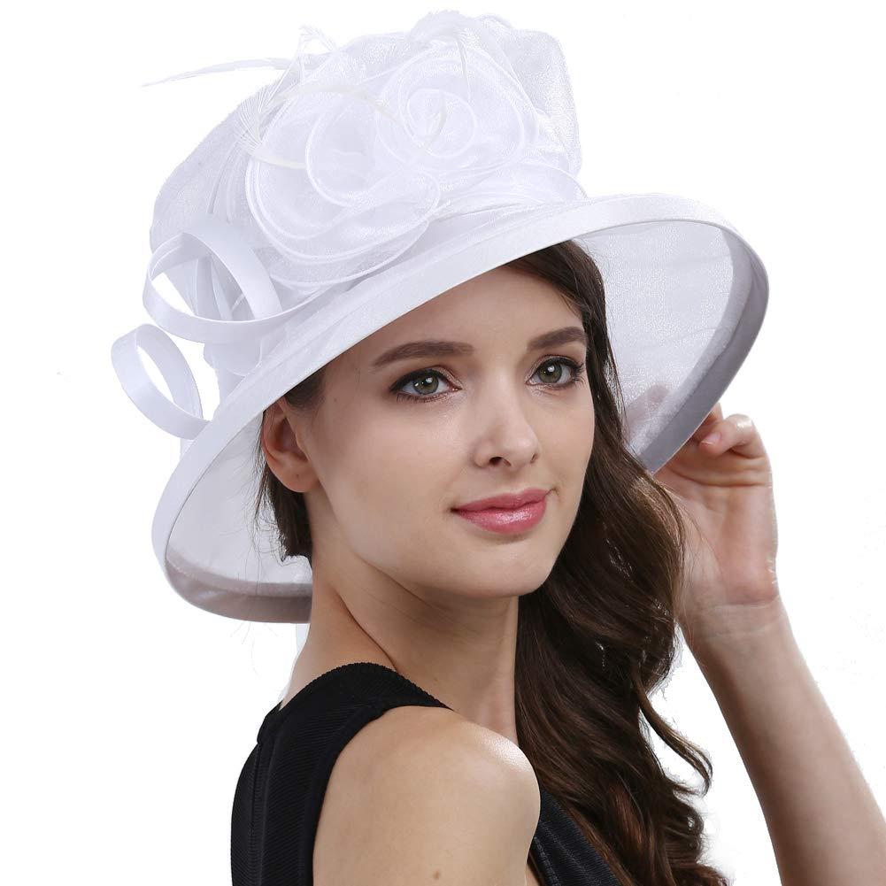 Original One Women's Kentucky Derby Tea Part Dress Church Fascinators Fancy Hats (White) M