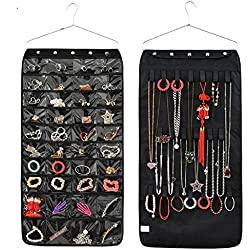 40 Pockets 20 Hooks Oxford Hanging Jewelry Organizer with Zipper Hanger
