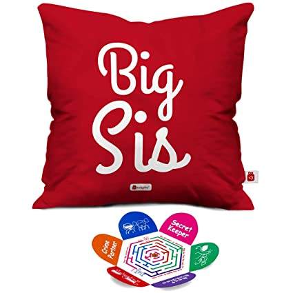 Indigifts Rakhi Gift For Sister Big Sis Quote Magenta Cushion Cover 18x18 Inches