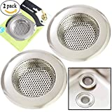 Kitchen Sinks Stainless Steel 2PCS Kitchen Sink Drain Strainer, Stainless Steel Sink Drain Strainer, Large Wide Rim 4.5