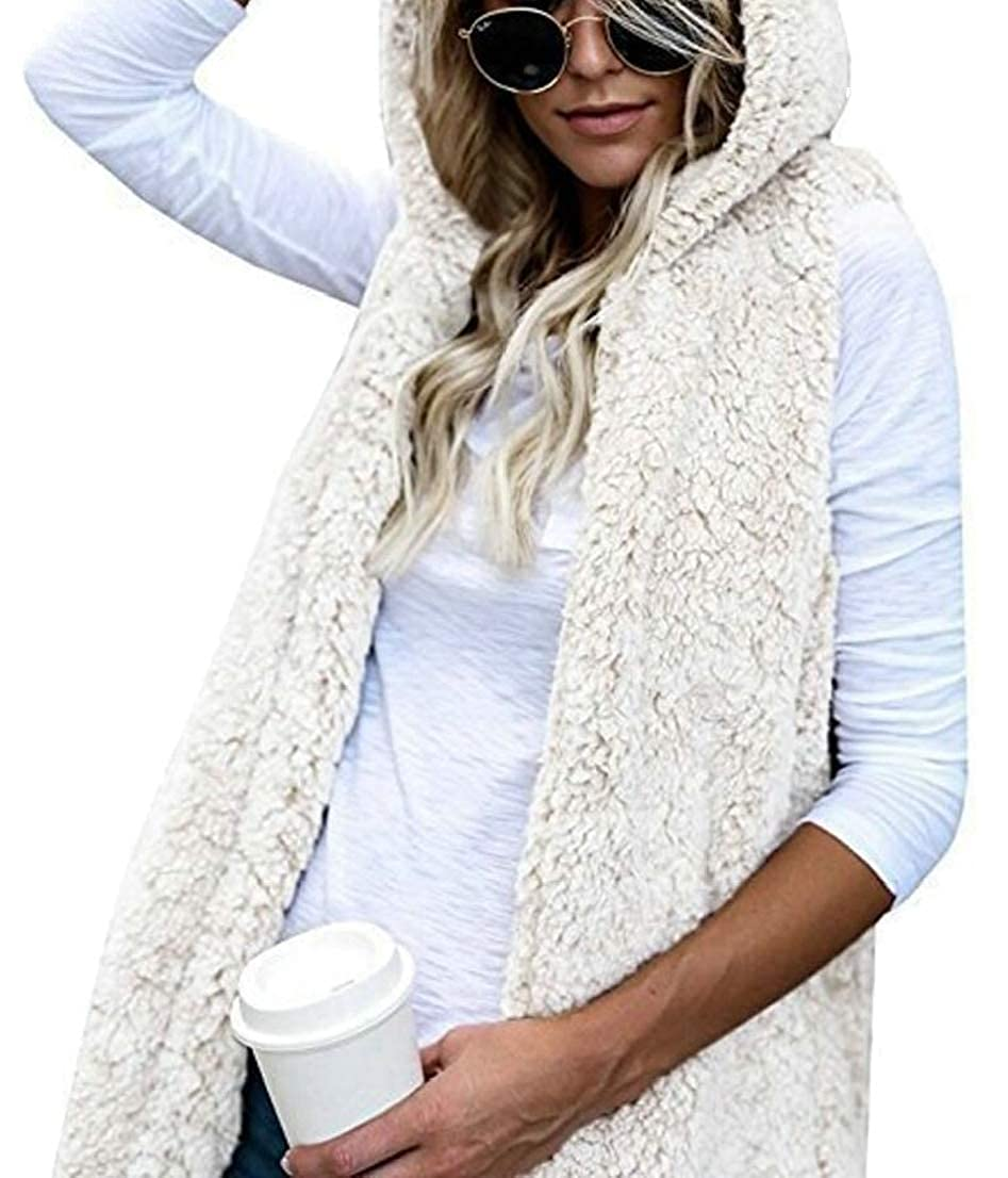 GenericWomen Sleeveless Fuzzy Vest Hoodies Pockets Open Front Cardigan Outerwear