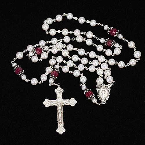 Ruby Silver Crucifix (Ruby and Pearl Catholic Women's Rosary - Handmade with Freshwater Pearls and Rubies, Bali Sterling Silver, Miraculous Medal, Ornate)