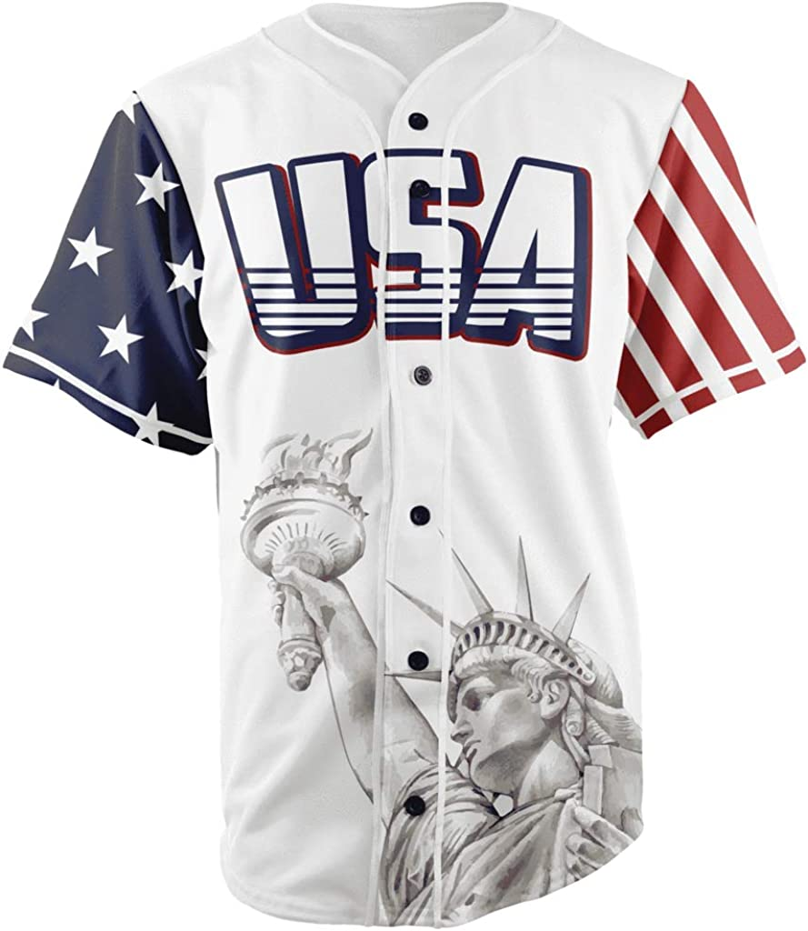 USA Custom Baseball Jersey Shirt Button Down Multi Colors Jerseys Top America #1 for Men with Free Bandana