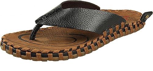 1e38b9eced349 ADS Men s Casual Leather Beach Flip-flops Weave Thong Sandal Slippers Black  5.5 UK