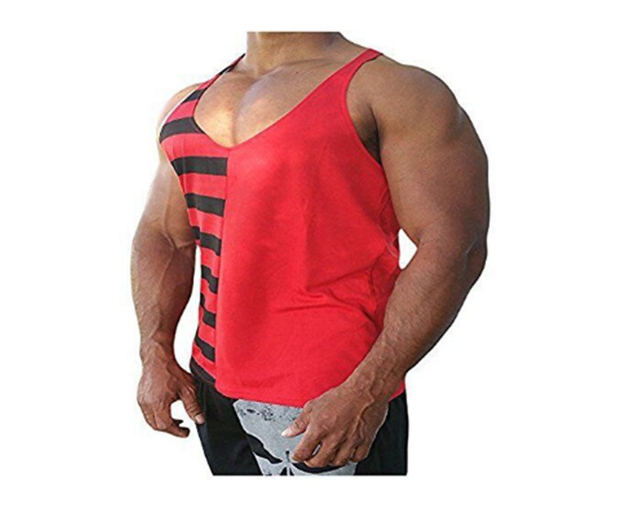M, bianco Shirt Canotte Swallowuk Uomo Sportivo Palestra Muscolo Formazione Cotone Vest Senza Maniche Bodybuilding Sports Canotte T