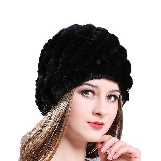 Amazon.com  Fur Hat Winter Warm Rabbit Fur Hat Women Beanie Hat Hand ... bf5265c2ee20