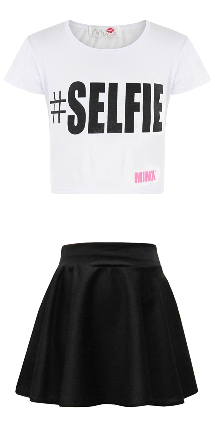 clicktostyle clickostyle Kids Girls White Selfie Crop Top With Black Skater Skirt Set Outfit Size 9-10 Years