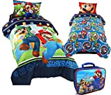 Super Mario BROTHERS TWIN Size REVERSIBLE Comforter and Sheet Set + Soft-sided Lunchbox