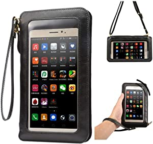 Touch Screen Crossbody Shoulder Bag Purse Pouch Wallet Case for for iPhone 8 Plus/iPhone X/Samsung Galaxy Note 8 / S8 Active/Motorola Moto G5s Plus / E4 Plus / Z2 Play/Asus ZenFone 4 (Black)