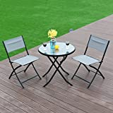 New MTN-G 3 Piece Table Chair Set Metal Tempered Glass Folding Outdoor Patio Garden Pool