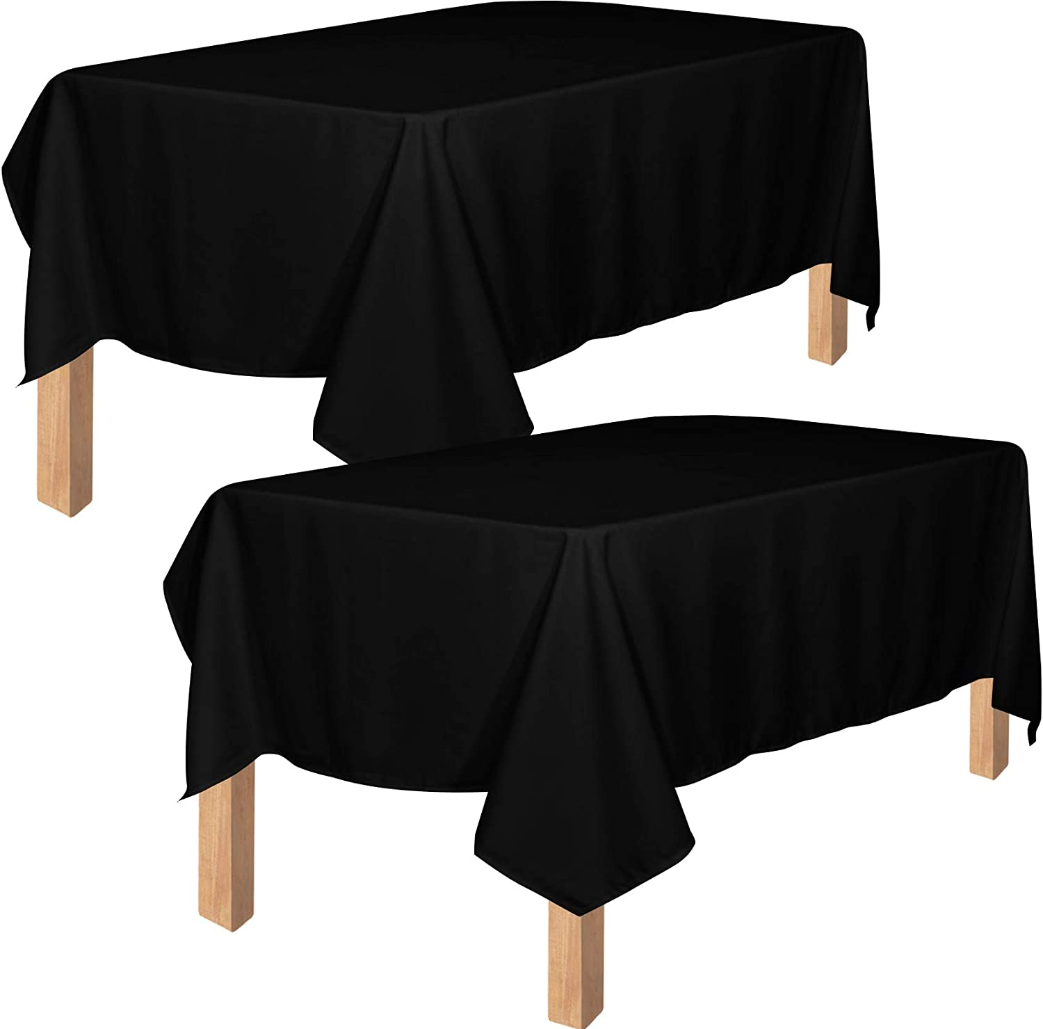 Utopia Kitchen Polyester Tablecloth – 60 x 102 Inches Table Cover - Machine Washable - Great for Parties, Events, Wedding and Restaurants (Pack of 2, Black)