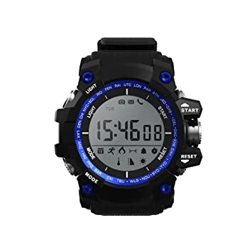 ... Sin necesidad de recarga,Altimetro,Temperatura ambiental,Sensor rayos UV, monitor de actividad,sumergible y notificaciones inteligentes, color Azul: ...