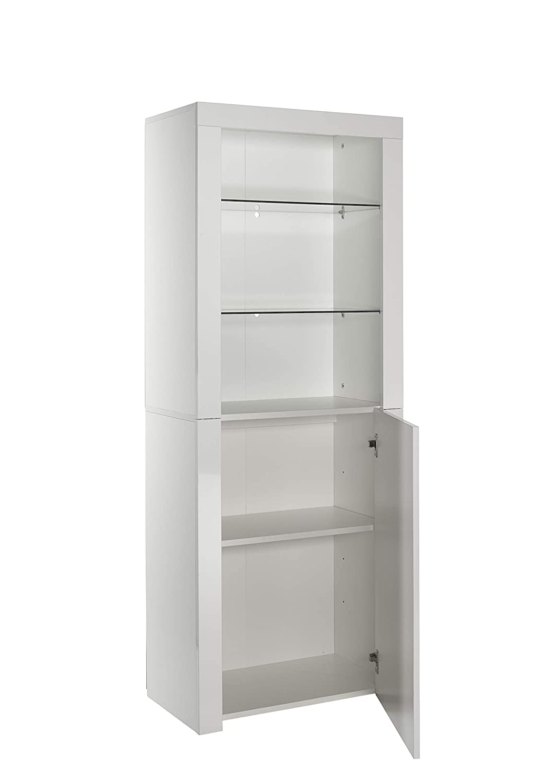 Blanc Small MMT Furniture Designs Ltd Buffet Moderne avec lumi/ères LED Blanc Mat Brillant