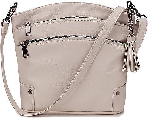 New Womens Triple Zipped Compartments Handbag Shoulder Messenger Crossbody Bag