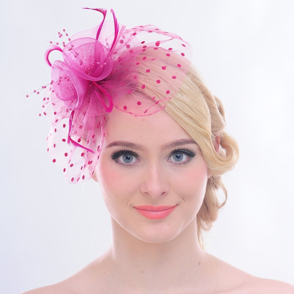 /Red Hair Clip para Royal Ascot c/óctel FAYBOX BRIDAL Vintage Plumas Lunares Malla/