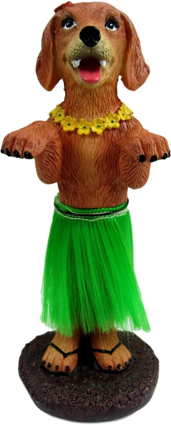 Dashboard Hula Dog Golden Retriever Car Bobblehead Figurine 6 Inches Green Grass Skirt Hawaiian Lay