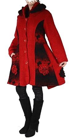 Damen Wolle Lagenlook Patchwork Wintermantel Mantel Swinger 38 40 42 44 46 48 SML XL XXL Rot Übergang Winter