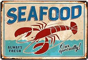 Original Retro Design Always Fresh Sea Food Tin Metal Signs Wall Art Thick Tinplate Print Poster Wall Decoration for Kitchen/Restaurant/Supermarket