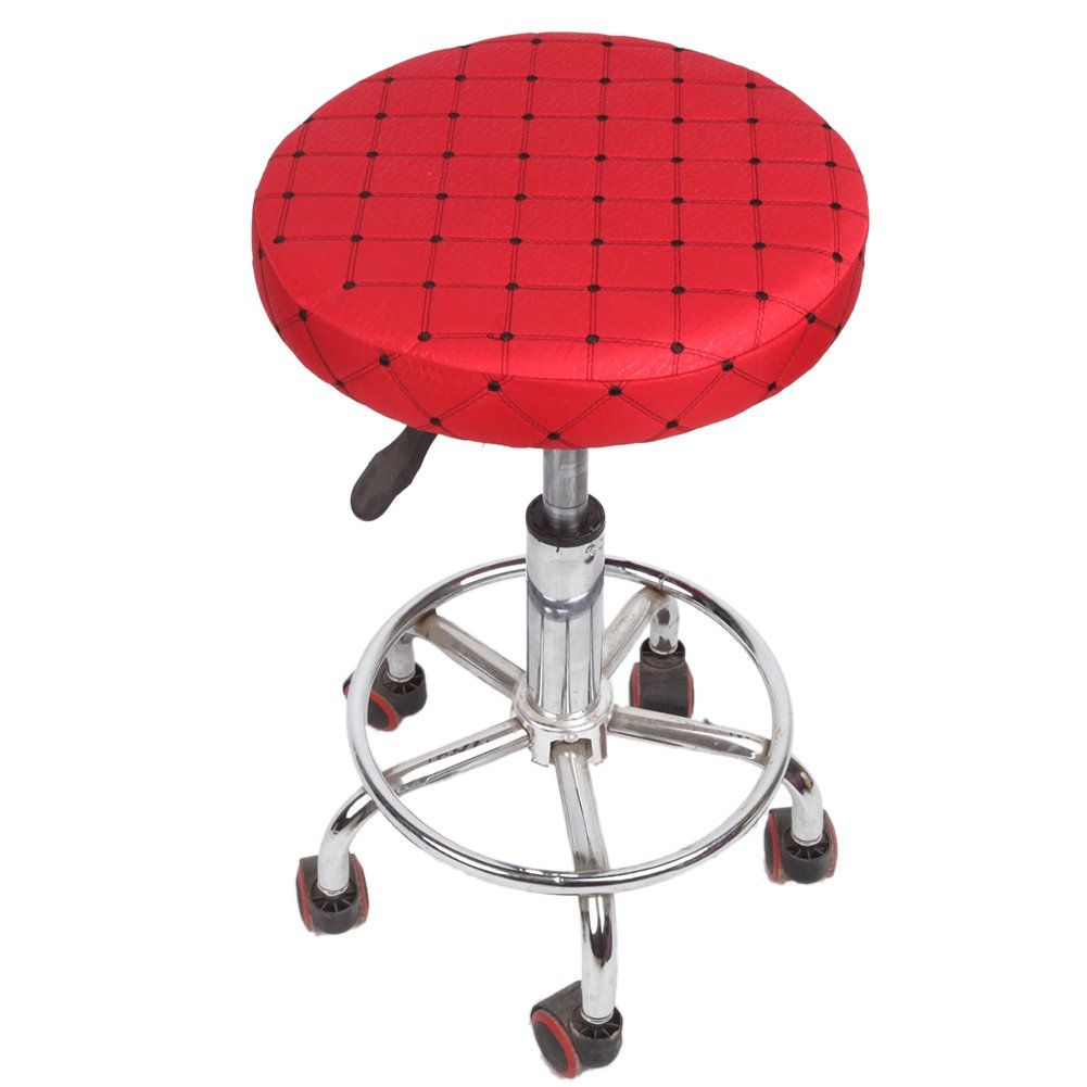 Stool Covers, My Decor Round Bar Stool Cover Faux Leather Barstool Cover, ,Diametre 13'', Set of 2, Red Check