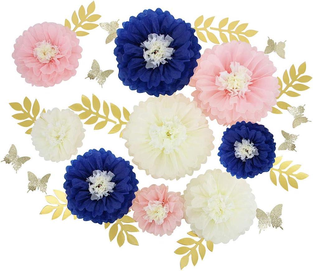 Mybbshower Navy Blue Pink DIY Paper Flower Decorations for Wall Backdrop Bridal Shower Decorations Nautical Wedding Centerpiece Set of 27 (Blush Navy)