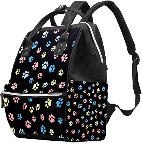 Cat Footprint Diaper Bag Backpack, Multifunction Travel Back Pack Maternity Baby Changing Bags, Large Capacity, Durable and Stylish, color Multicolor, talla 27x19.8x36.5cm/10.6x7.8x14in: Amazon.es: Zapatos y complementos