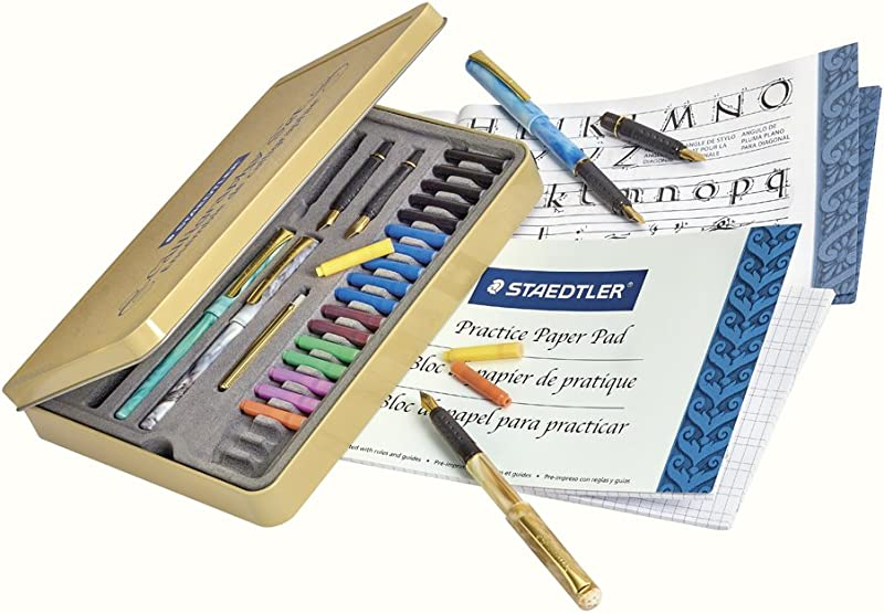 STAEDTLER calligraphy pen set, Complete 33 piece tin, ideal for all ski