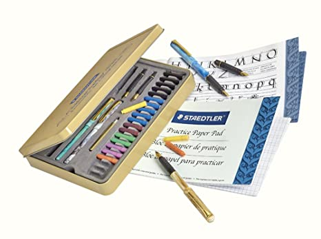 Amazon Com Staedtler Calligraphy Pen Set Complete 33 Piece Tin