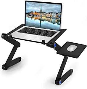 Laptop Stand, Adjustable Multi-Angle Laptop Bed Table, Laptop Computer Stand, Portable Laptop Workstation Notebook Stand Reading Holder with a Mouse Pad in Bed Couch Sofa Office