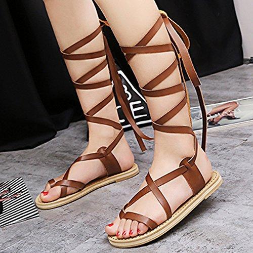 COOLCEPT Mujer Moda Cordones Sandalias Punta Abierta Plano Zapatos Marron
