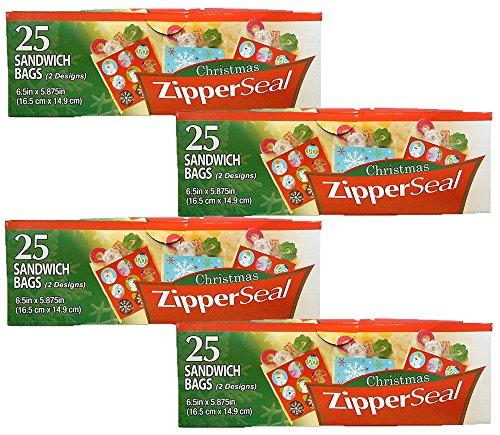 100 Christmas Zipper Seal Sandwich Holiday Treat Bags (100 Bags)