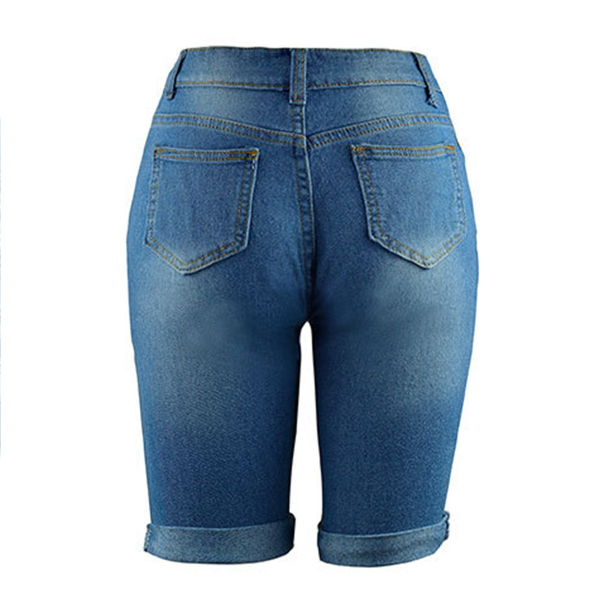 E.JAN1ST Womens Bermuda Shorts Mid Rise Stretchy Knee Length Denim Destroyed Shorts