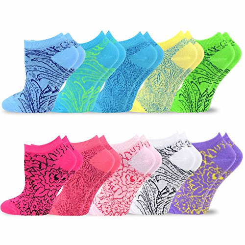 TeeHee Women's Valued 9+1 Pack Fashion No Show Cotton Socks (Floral Design)