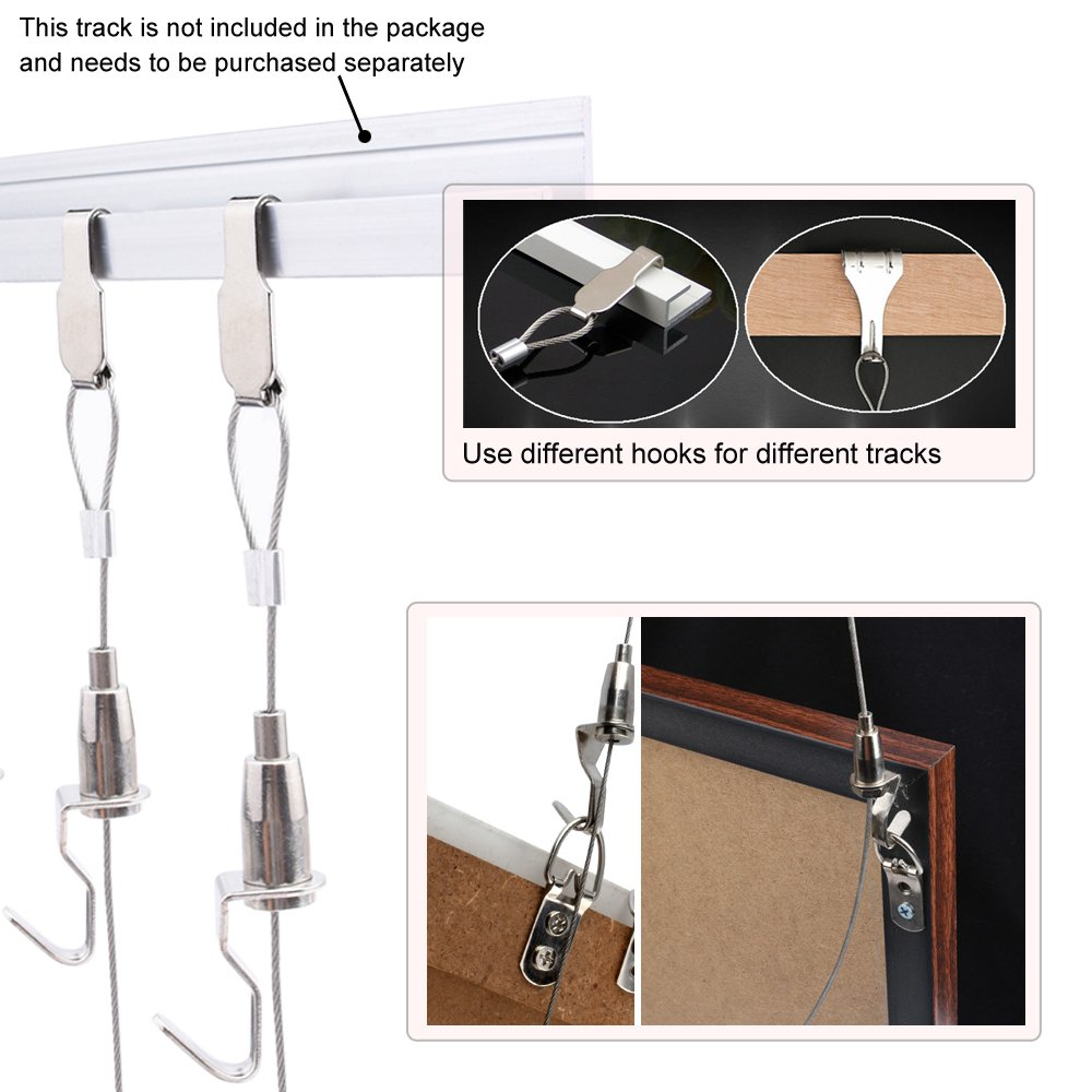 Pack of 2Sets Professional Art Hanging System Gallery Large Picture/Billboard/Painting/Art Exhibition Display Kit - Adjustable Photo Hanging - 39'' Stainless Steel Cable by Blue Handcart (Image #7)