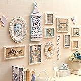 Photo wall, europe solid wood photo wall, creative combination photo wall, living room bedroom frame wall, restaurant wall big bell