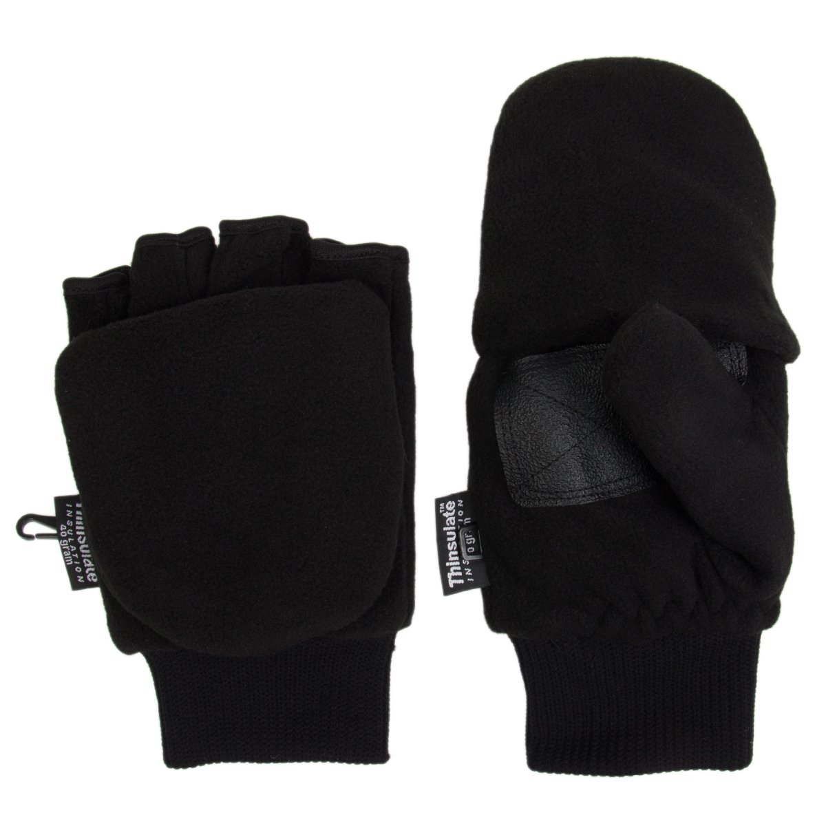 Thinsulate 3M Fleece Pop Top Convertible Fingerless Gloves Mittens Women Kids