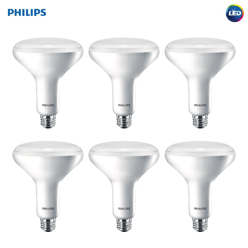 Philips LED Dimmable BR40 Soft White Light Bulb with Warm Glow Effect 800-Lumen, 2700-2200-Kelvin, 10-Watt (65-Watt Equivalent), E26 Base, Frosted, 6-Pack by Philips LED (Image #1)