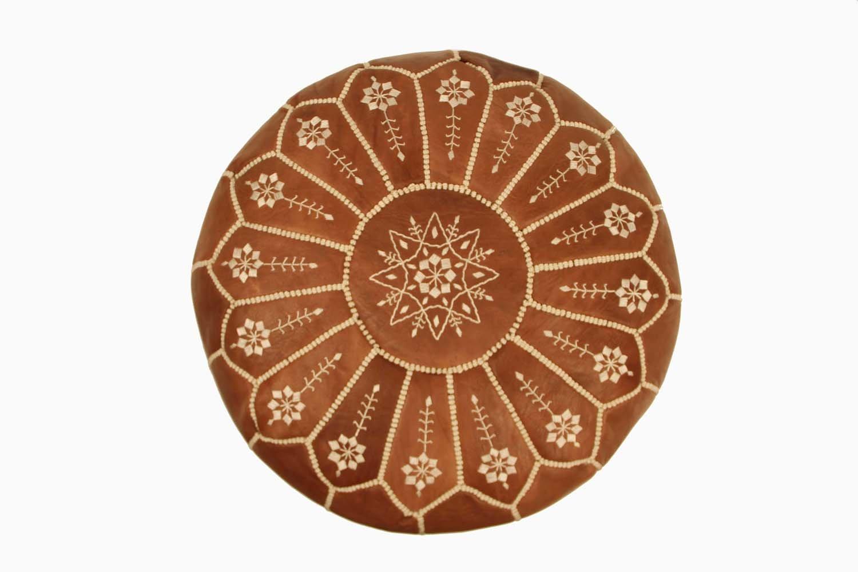 Casablanca Market Moroccan Embroidered Starburst Stitched Cotton Stuffed Leather Pouf, Chestnut