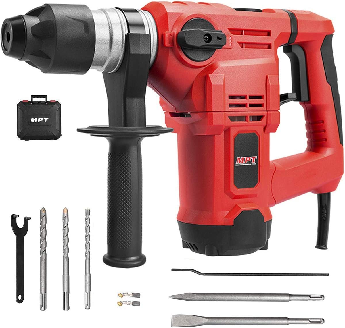 MPT 1-1 4 Inch SDS-plus 12 Amp Heavy Duty Rotary Hammer Drill,3 Functions Vi b ration control Reverse and Variable Speed,Include 3 Drill Bits,Grease,Chisel with Case