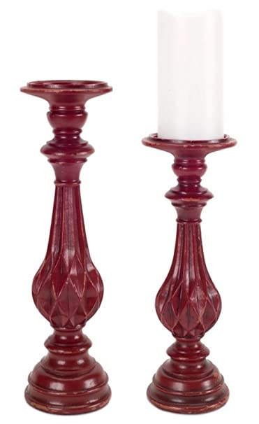 Christmas Tablescape Décor - Decorative red distressed pillar candle holders - Set of 4