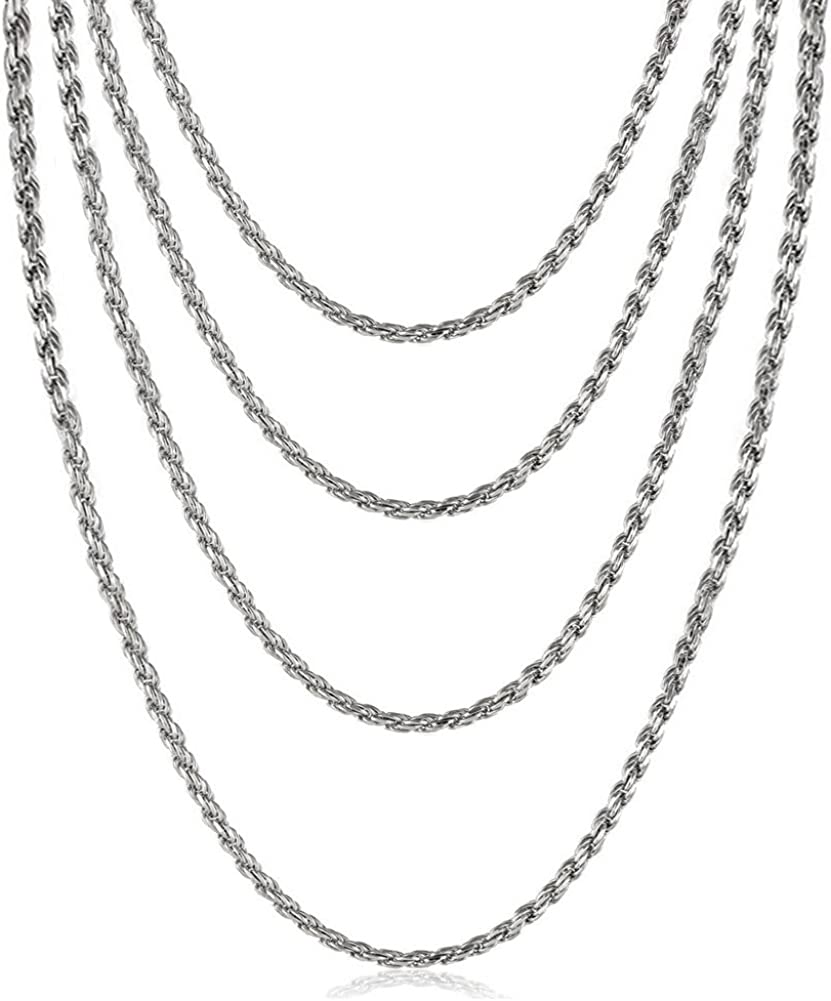 VNOX Stainless Steel French Rope Chain Necklace,18/20/22/24 Inches