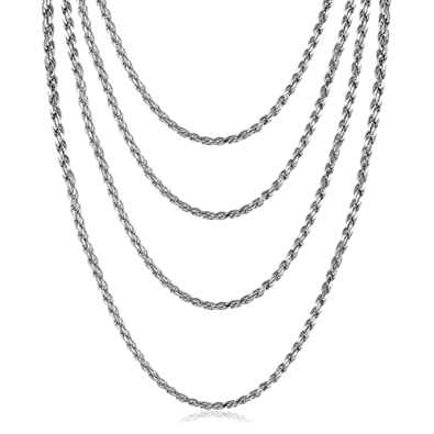 899c1dc20e2 VNOX Stainless Steel French Rope Chain Necklace, 2mm Set of 4 | Amazon.com
