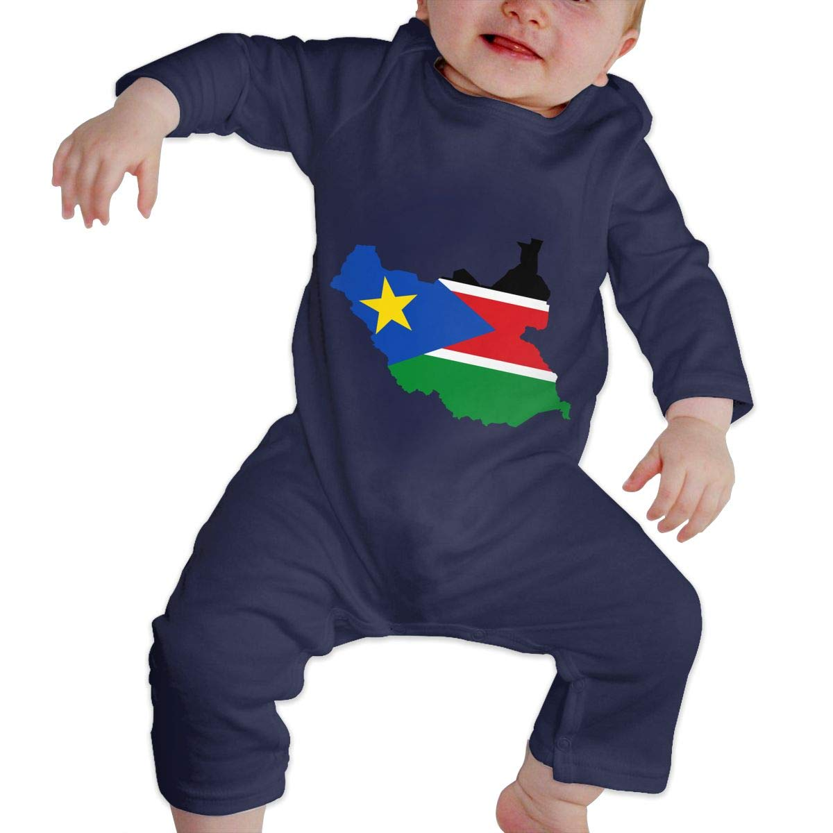 South-Sudan Unisex Long Sleeve Baby Gown Baby Bodysuit Unionsuit Footed Pajamas Romper Jumpsuit