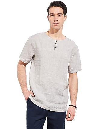 abe94a27081 UAISI Men Linen Shirt Short Sleeve Casual Loose Shirt  Amazon.co.uk   Clothing