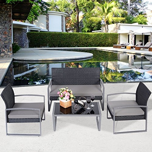 4pc Outdoor Conversation Set Furniture Black Rattan Wicker for Outdoor Garden Beach Patio And Poolside. 1 Rectangle Tempered Glass Coffee Table Low +1 Loveseat Sofa +2 Single Sofas, All With Cushions! (Glass Table Tropitone)