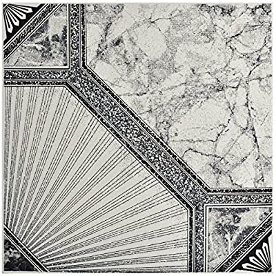 "SomerTile FCG12ESN Stella Ceramic Floor & Wall Tile, 12.5"" x 12.5"", Nero,,, Black, White, Grey"