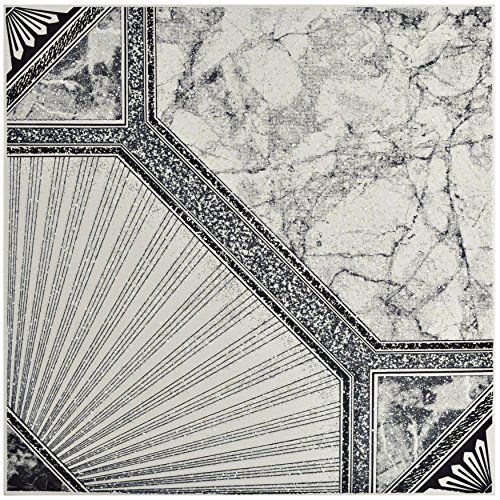 "Price comparison product image SomerTile FCG12ESN Stella Ceramic Floor & Wall Tile, 12.5"" x 12.5"", Nero,,, Black, White, Grey"