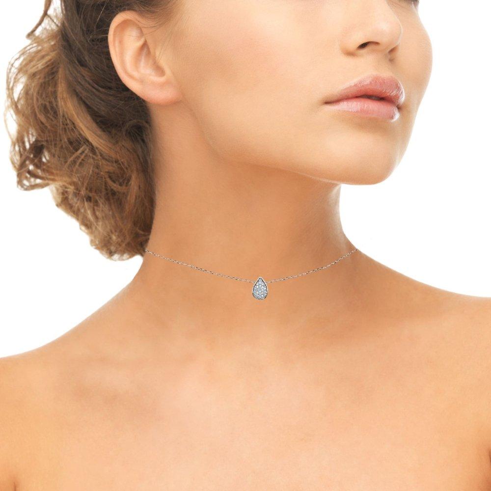 Sterling Silver Cubic Zirconia Teardrop Pave Dainty Choker Necklace by GemStar USA (Image #2)