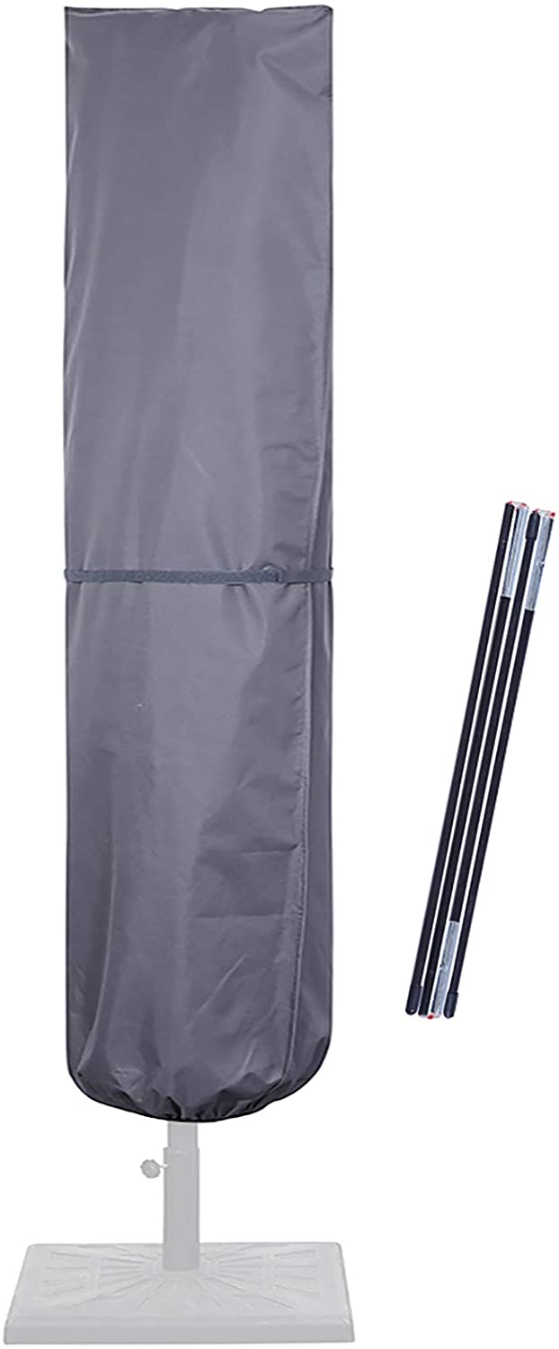 SUPERJARE Updated Patio Umbrella Cover with Rod for 7 to 11 Ft Umbrellas & 15 Ft Double-Sided Umbrellas, 600D Protective Waterproof Cover with Zipper, Gray