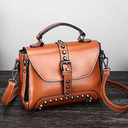For Bags Vintage Rivets Small Bag Brown Ladies Women Adjustable Messenger Retro Strap Able Handbag Crossbody Tote Leather Shoulder 55wr1p8